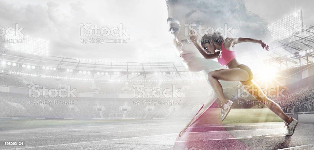 スポーツの背景。英雄的なランナーの肖像画。ミクスト メディア。 ロイヤリティフリーストックフォト
