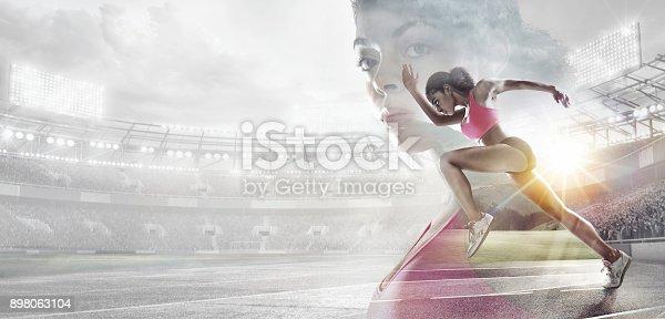 istock Sport backgrounds. Heroic Runner portrait. Mixed media. 898063104