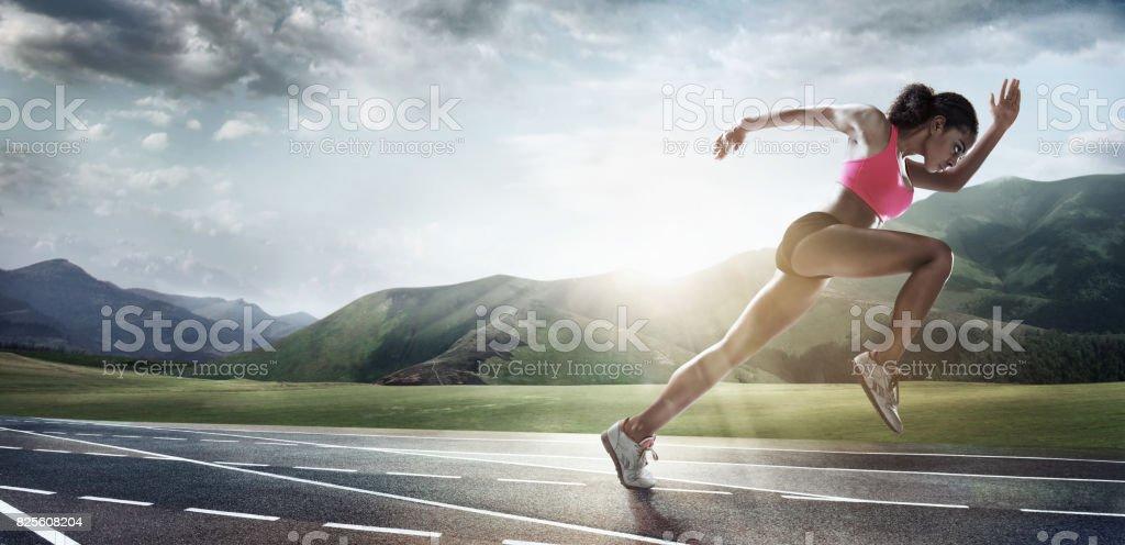 Sport backgrounds. Runner. Dramatic scene. stock photo