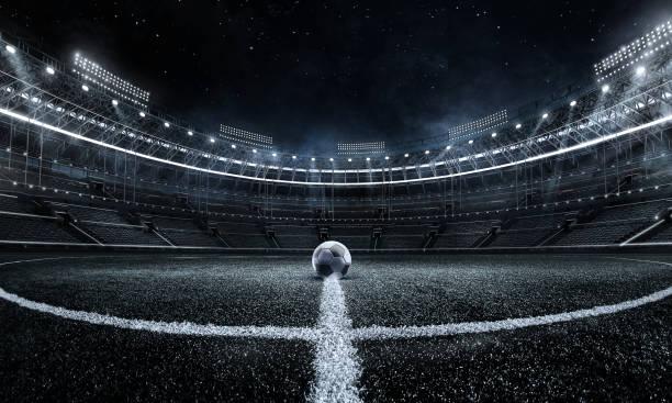 スポーツの背景。サッカースタジアム。スタジアムのサッカーボール。フットボールのポスター。 - スタジアム ストックフォトと画像