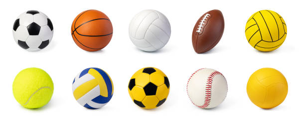 sport balls set isolated on white - racket sport stock pictures, royalty-free photos & images