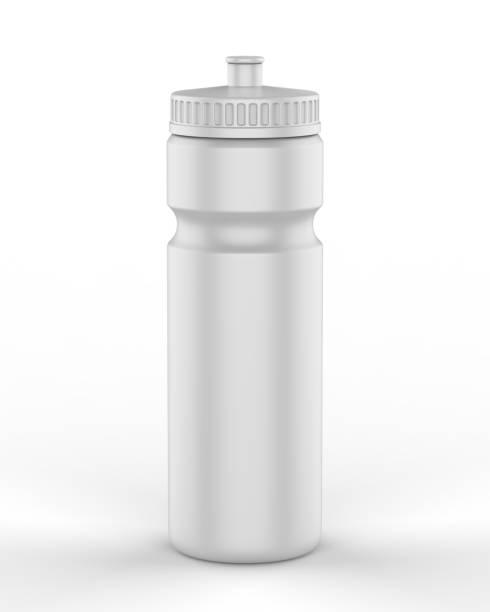 sport garrafas de sipper em branco para água isolada em fundo branco para simular e design de modelo. ilustração de renderização 3d. - squeeze bottle - fotografias e filmes do acervo