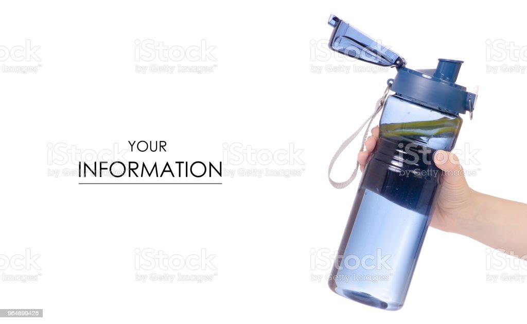Sport bottle of water with lemon in hand pattern royalty-free stock photo