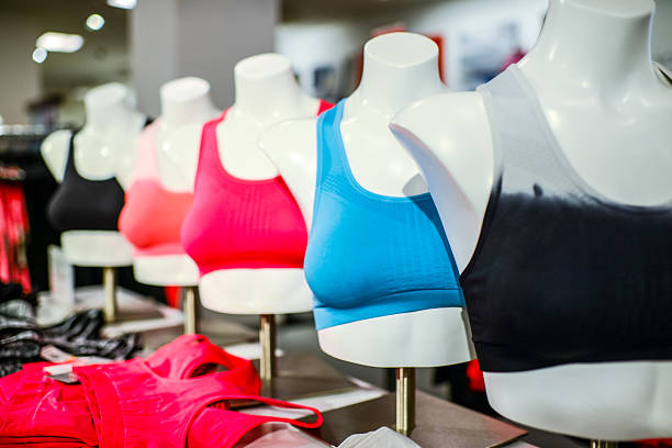 Sport bra at sport store stock photo