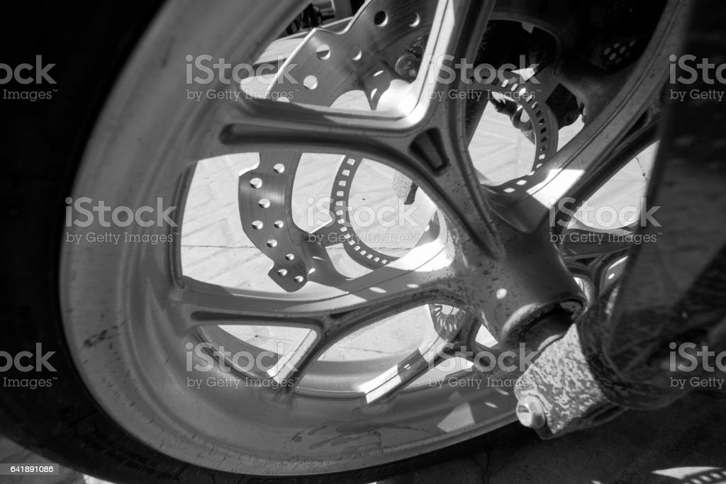 sport break disk with the break pad for motorcycle stock photo