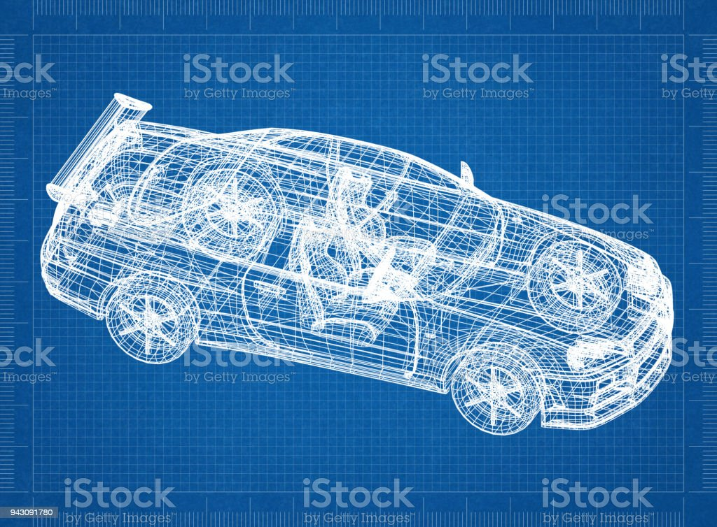 Sport car 3d blueprint stock photo more pictures of architect istock sport car 3d blueprint royalty free stock photo malvernweather