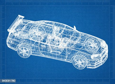 Sport car 3d blueprint stock photo more pictures of architect istock malvernweather Images