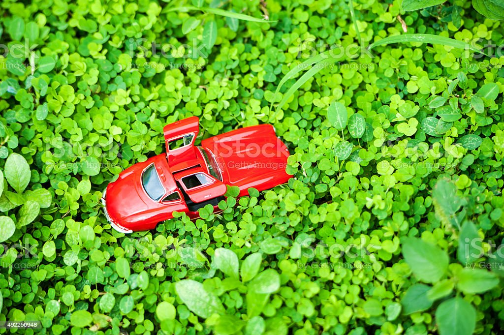 Sport car model in nature place . stock photo