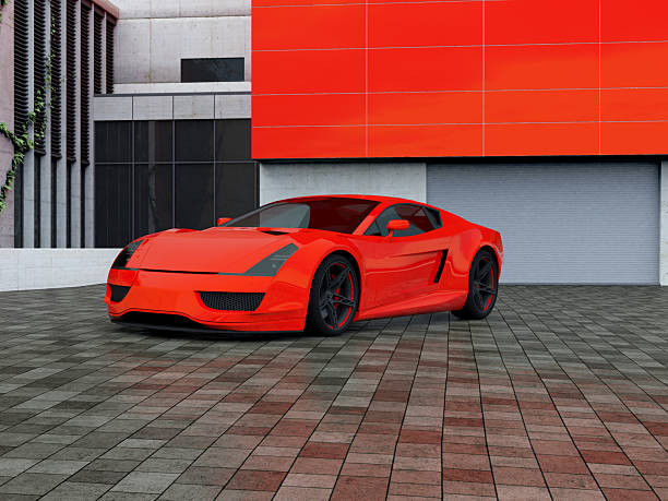 Sport car parking in front of a house Sport car parking in front of a house. Full CGI shot made by my self. Showing a ficitonal concept car without brand. exoticism stock pictures, royalty-free photos & images