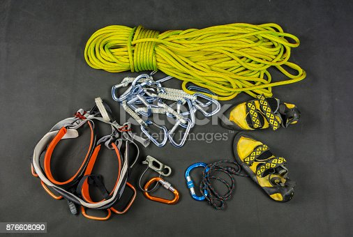 Basic climbing equipment for sports climbing on insured roads.