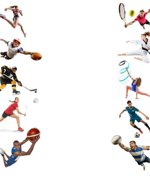 sport collage about kickboxing, soccer, american football, basketball, ice hockey, badminton, taekwondo, tennis, rugby - badminton sport stock pictures, royalty-free photos & images