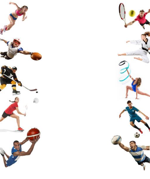 collage de deporte de kickboxing, fútbol, fútbol americano, baloncesto, hockey sobre hielo, bádminton, taekwondo, tenis, rugby - bádminton deporte fotografías e imágenes de stock
