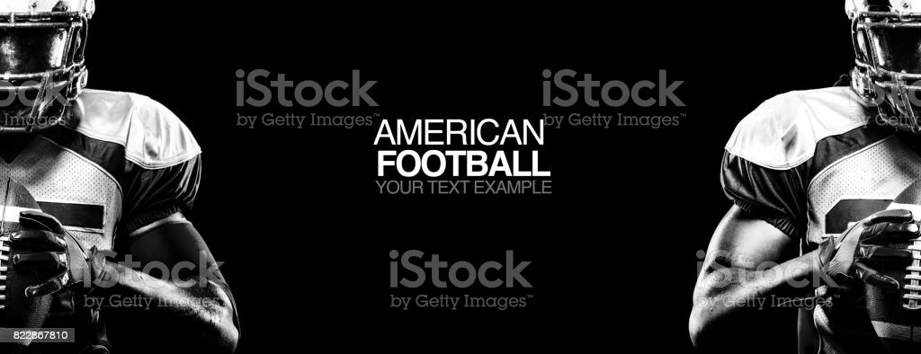 Sport concept. American football sportsman player on black background with copy space. Sport concept. stock photo