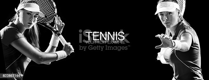 istock Sport concept. Sports woman tennis player with a racket. Copy space. Black and white photo. Sport concept. 822867144