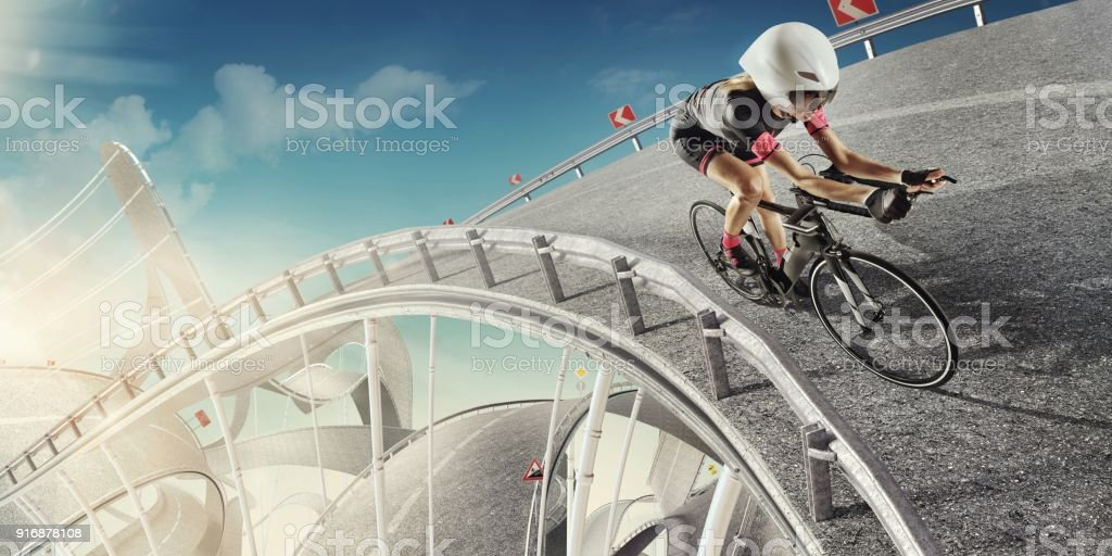 Sport. Cycling. Design concept for a sport background. Road like the roller coaster. stock photo