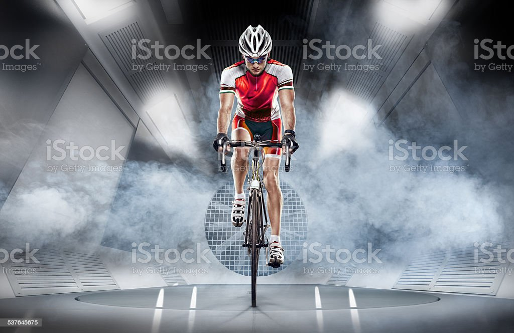 Sport. Cyclist in the wind tunnel stock photo