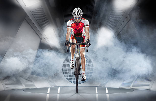 Sport. Cyclist in the wind tunnel Sport. Cyclist has a traning in the wind tunnel aerodynamic stock pictures, royalty-free photos & images