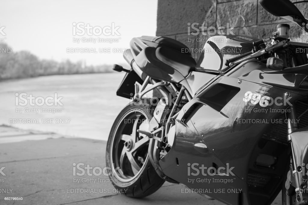 Sport Ducati Motorcycle photographed outdoors stock photo