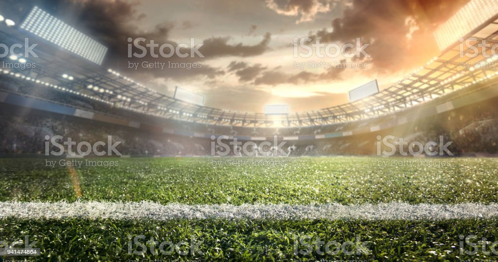 Sport. Empty football soccer field with white marks, green grass texture. stock photo
