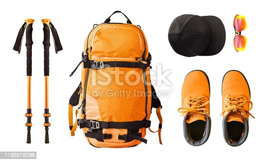 istock Sport equipment and clothes for hiking and trekking. 1135575298