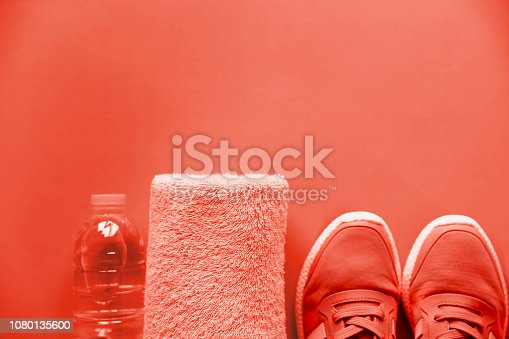 istock Sport equipment sneakers, water, towel on bright background. 1080135600