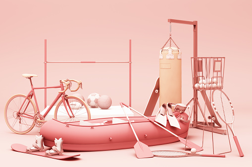 Sport equipments on pink background. 3d rendering