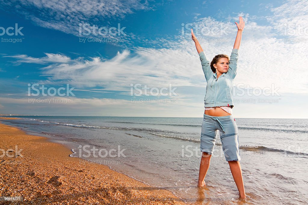 sport exercises on a seabeach royalty-free stock photo
