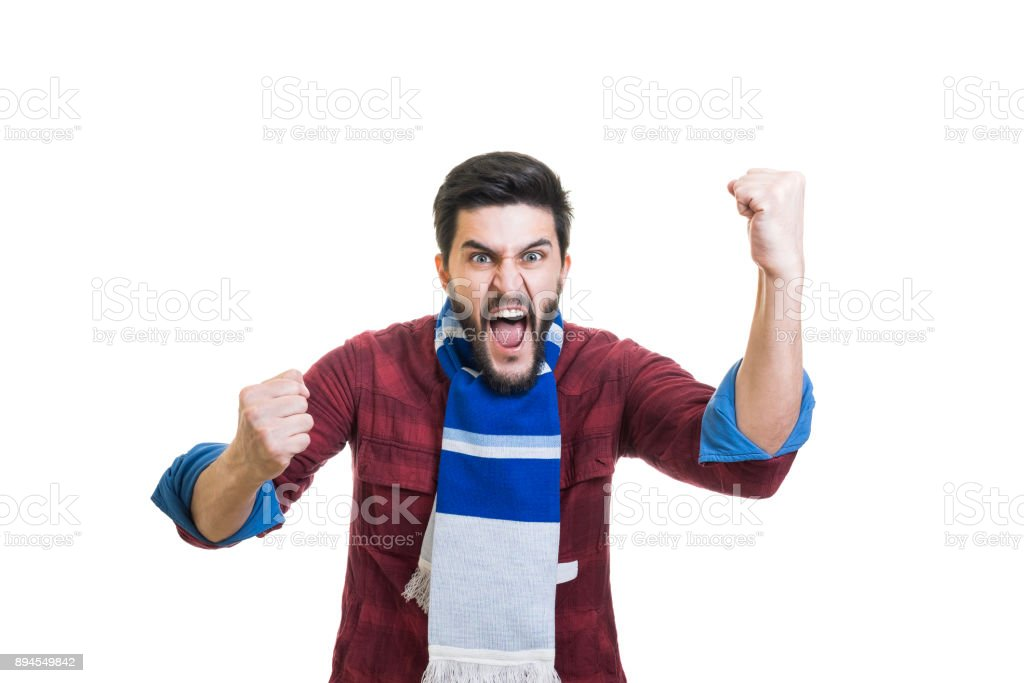 Sport fan with scarf stock photo