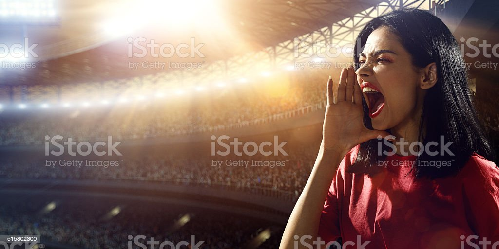 Sport fans: A man shouting stock photo