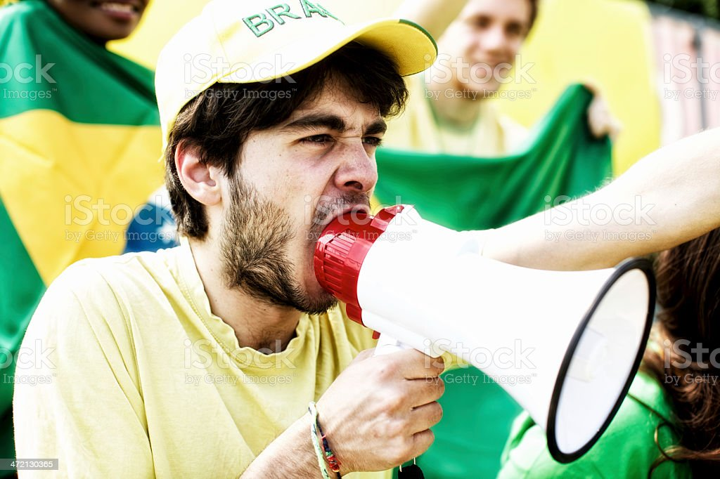 Sport fans cheering a game royalty-free stock photo