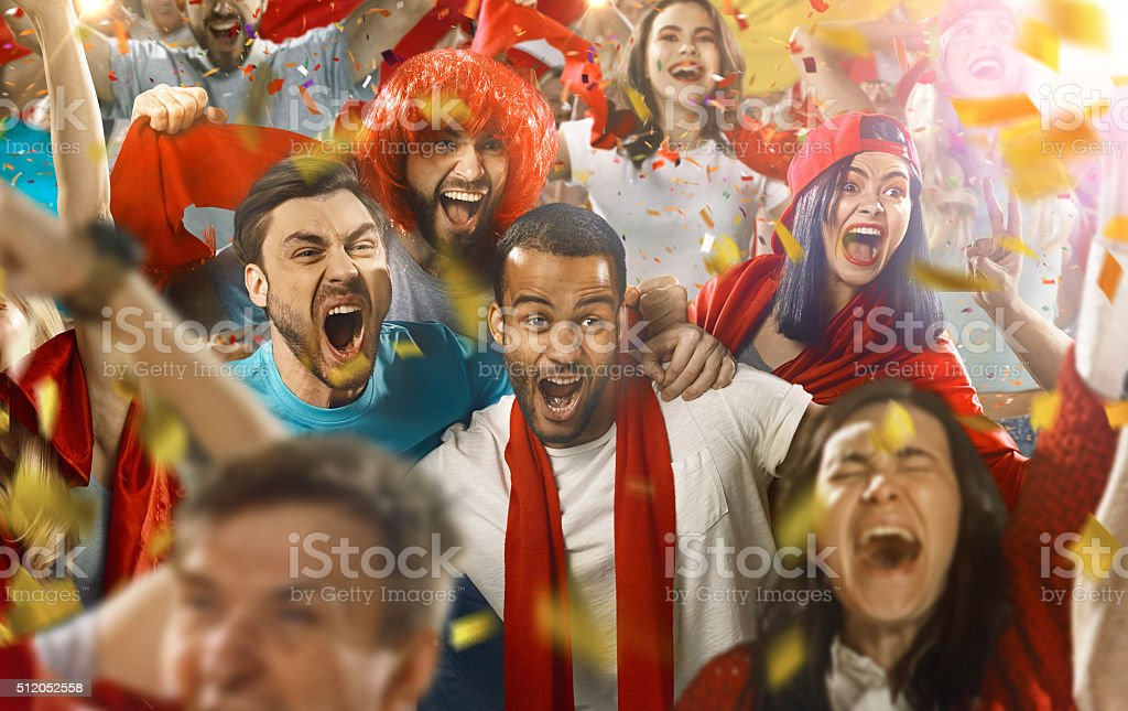 Sport fans: Everybody excited stock photo