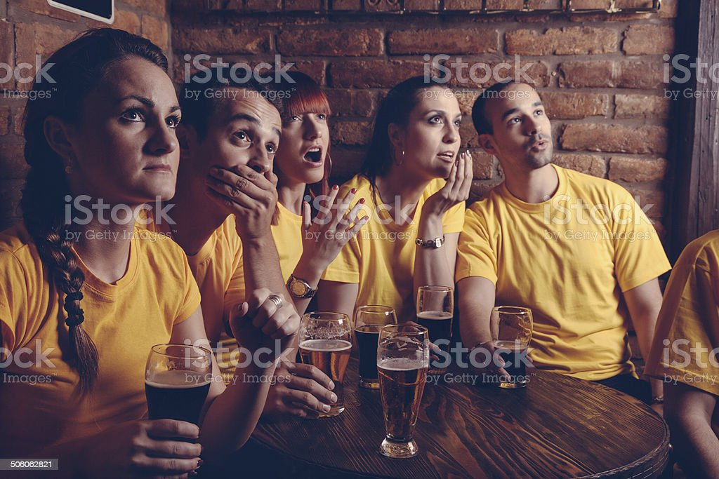 Sport Fans In Pub stock photo