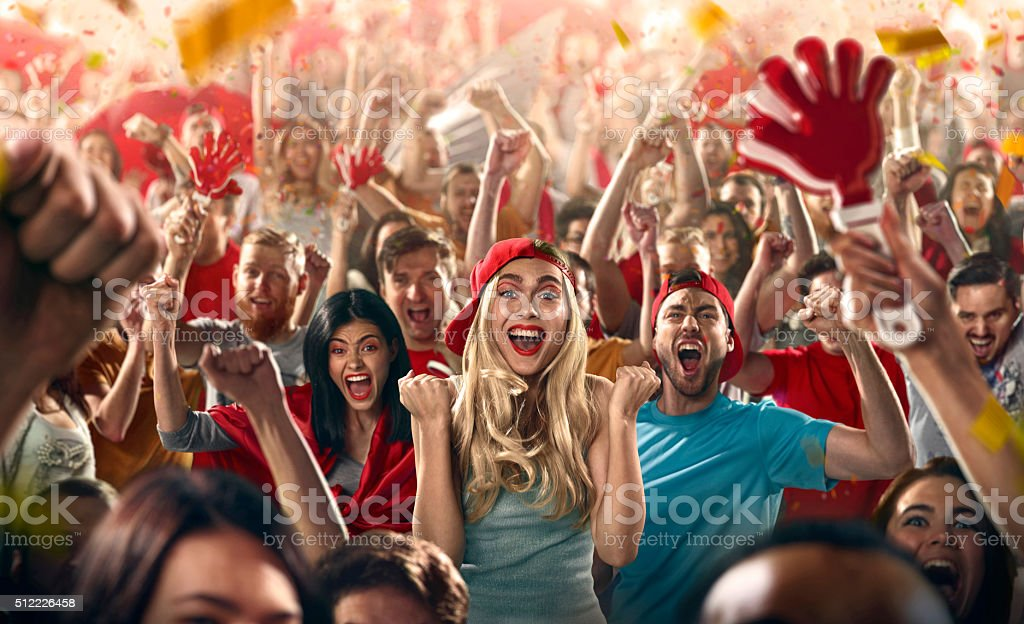 Sport fans : Main girl happy stock photo