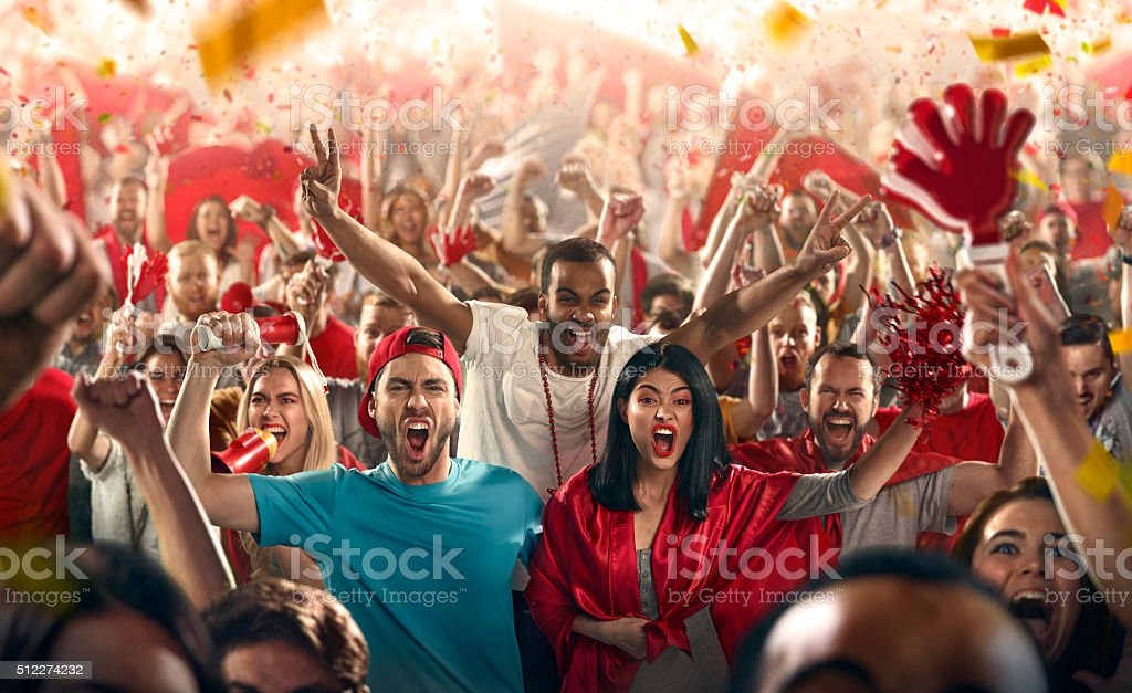 Sport fans: Three friends happy stock photo