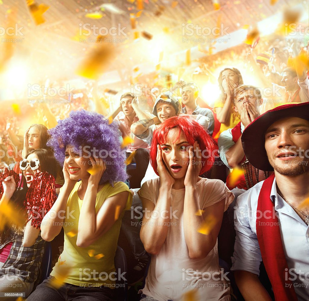Sport fans: Worried fans stock photo