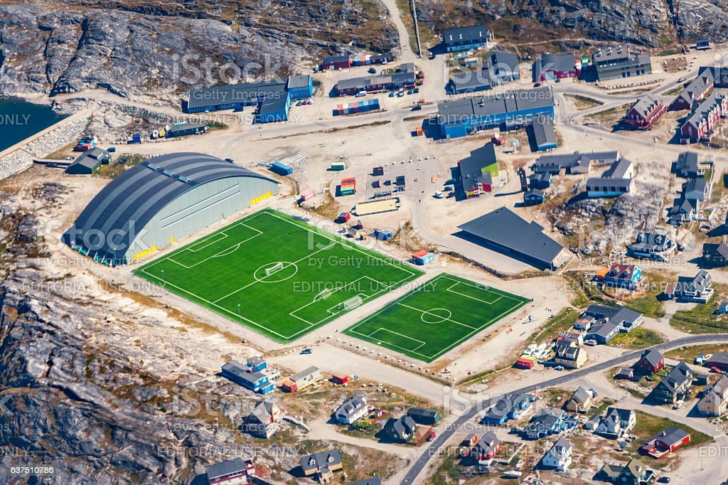 Sport Fields and Residential District in Nuuk Greenland From Above Lizenzfreies stock-foto