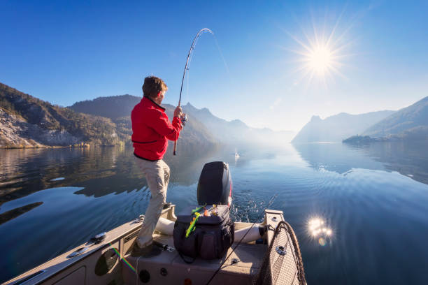 Sport fisherman hunting fish - fishing at alpin lake Fishing, Autumn, Dawn, Freshwater Fishing, Spin fishing freshwater fishing stock pictures, royalty-free photos & images