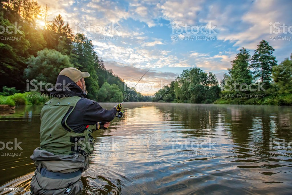 Sport fisherman hunting fish. Outdoor fishing in river stock photo
