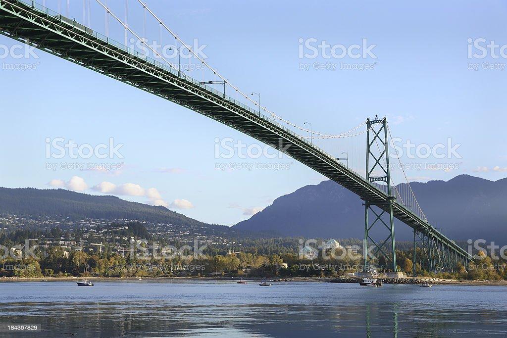 Sport Fishermen, Lions Gate Bridge, Vancouver stock photo