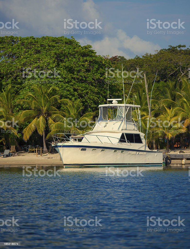 sport fishing boat moored at a beach stock photo