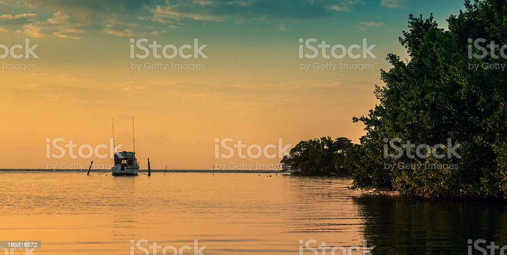 sport fishing boat moored stock photo