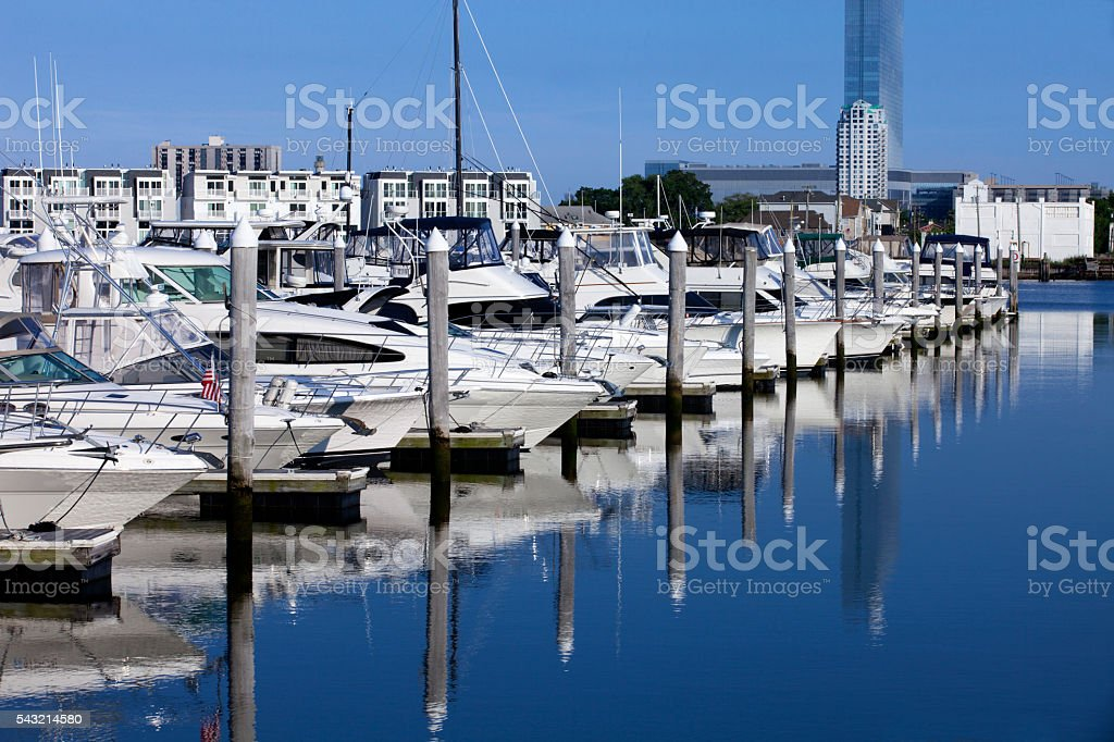 Sport Fishing Boats and Yatch in a Marina stock photo