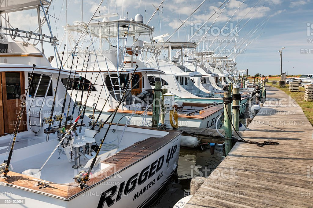 Sport fishing boats for hire, Oregon Inlet, Cape Hatteras, NC stock photo