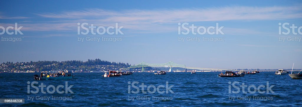 sport fishing boats  salmon fishing on the columbia river near astoria royalty-free stock photo