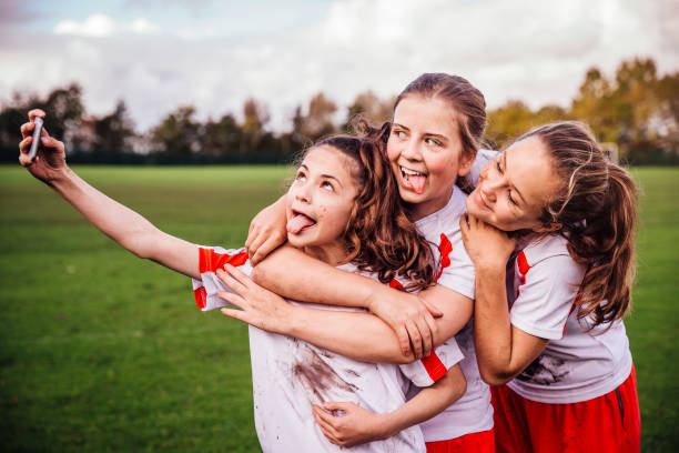 sport girl selfie - sports uniform stock photos and pictures