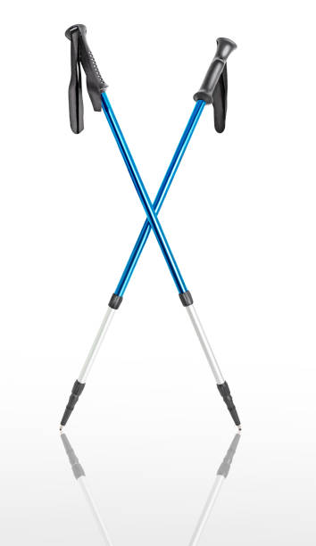 Sport hiking or ski poles isolated with path on white background. Trekking and nordic walking concept Sport hiking or ski poles isolated with path on white background. Trekking and nordic walking concept nordic walking stock pictures, royalty-free photos & images