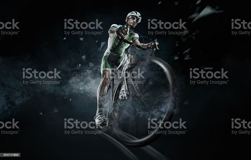 Sport. Isolated athlete cyclists stock photo