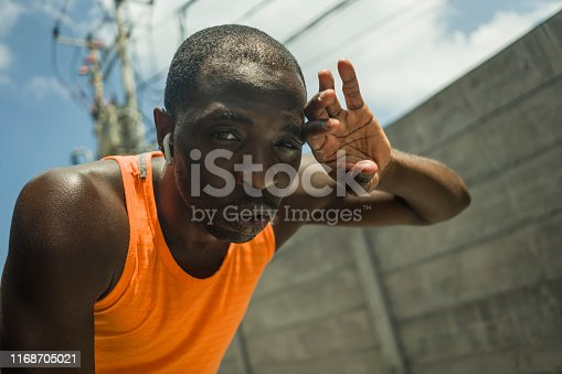 istock sport lifestyle portrait of tired and exhausted black badass looking black afro American man breathing cooling off after hard running workout in fitness sacrifice and athlete training 1168705021