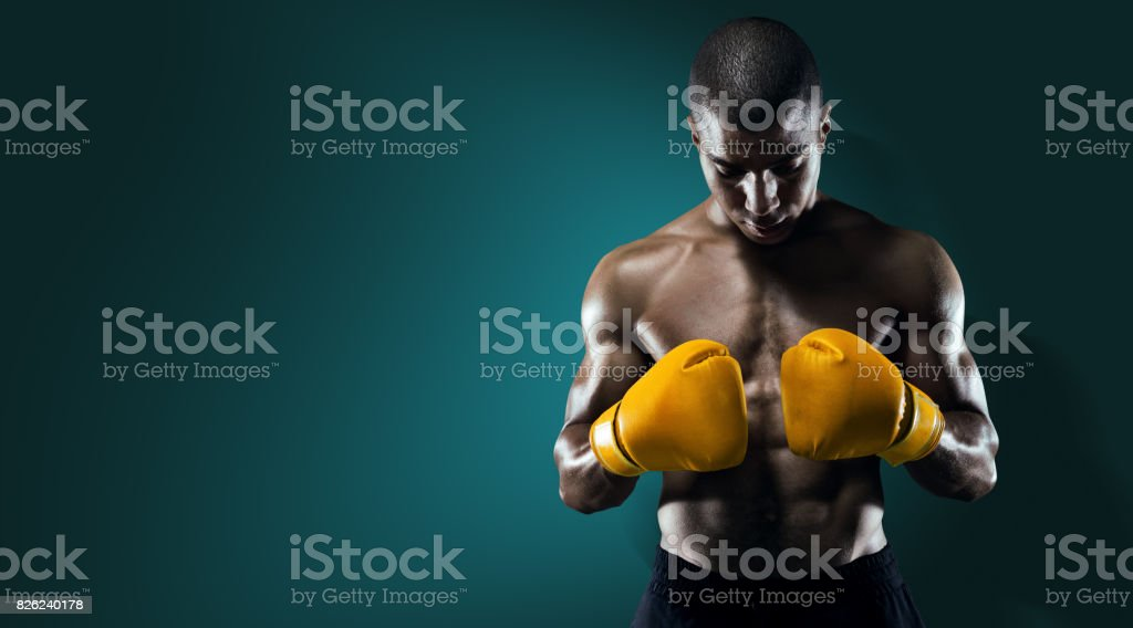 Sport. Male Athlete Boxer Punching. stock photo