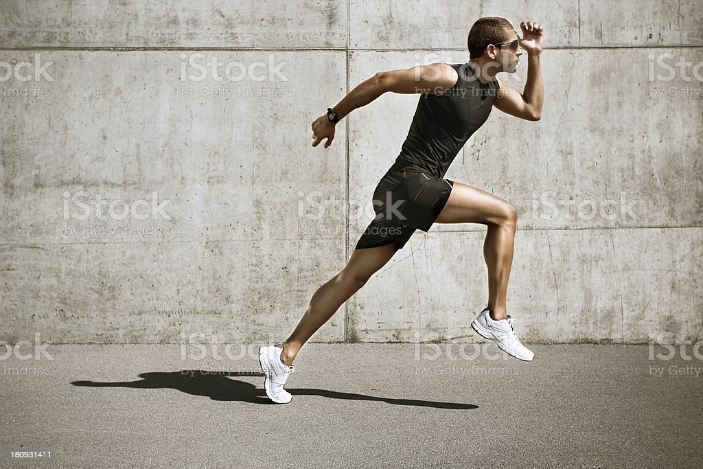 sport man starting running stock photo